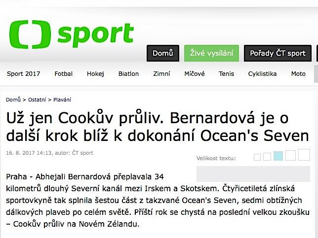 ČESKÁ TELEVIZE – Už jen Cookův průliv. Bernardová je o další krok blíž kdokonání Ocean'sSeven